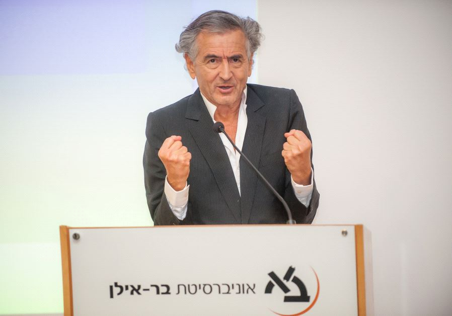 French Jewish philosopher Bernard-Henri Lévy speaking at Bar-Ilan University