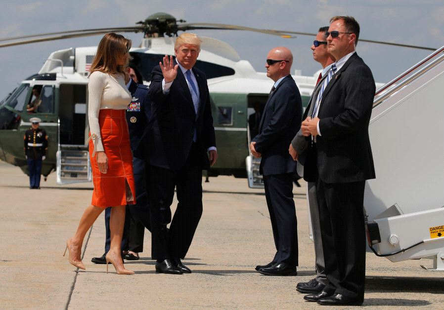 US President Donald Trump and first lady Melania Trump board Air Force One May 19, 2017.