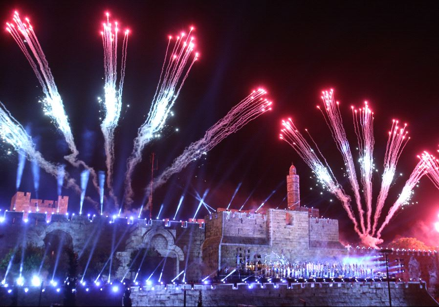 Fireworks over Jerusalems Old City May 21, 2017