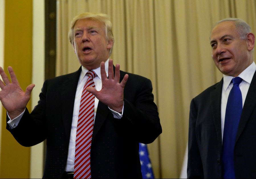 U.S. President Donald Trump (L) and Israel's Prime Minister Benjamin Netanyahu speak to reporters.