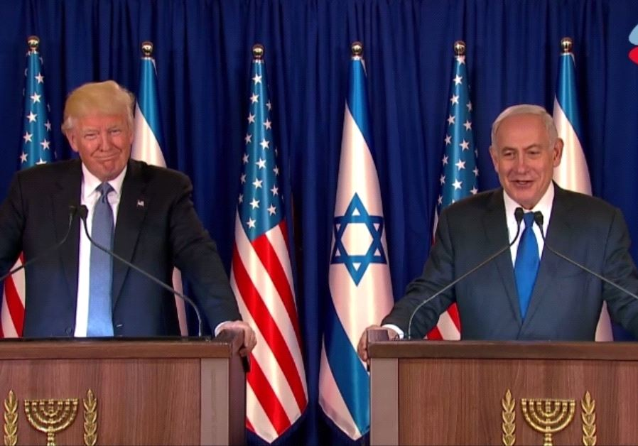 Prime Minister Benjamin Netanyahu and US President Donald Trump deliver statements