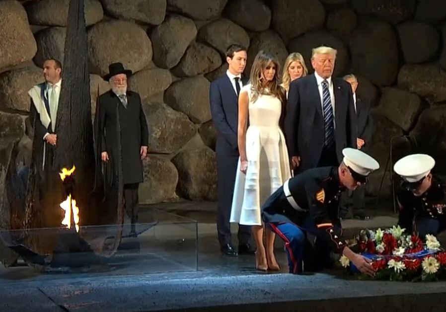 Donald Trump, Melania Trump, Ivanka Trump, and Jared Kushner place a wreath at Israel's Yad Vashem h