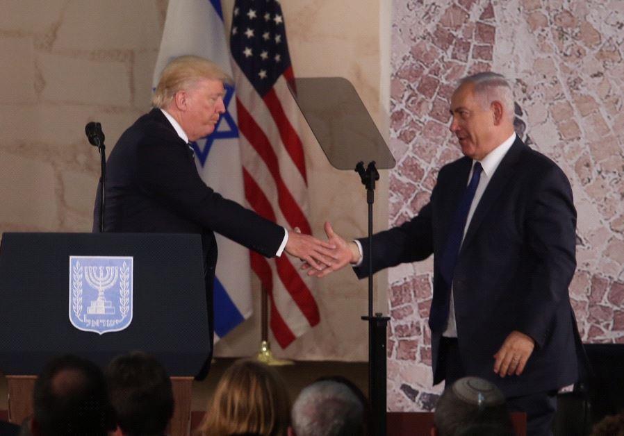 US President Donald Trump and Prime Minister Benjamin Netanyahu at the Israel Museum