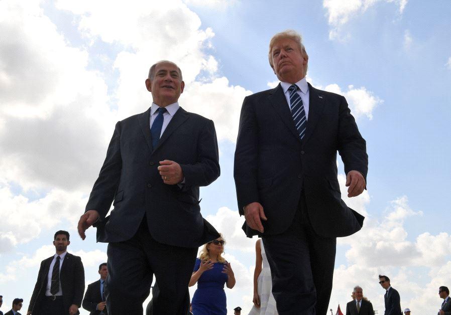 Prime Minister Benjamin Netanyahu and US President Donald Trump at Ben Gurion International Airport (photo credit: KOBI GIDEON/GPO)