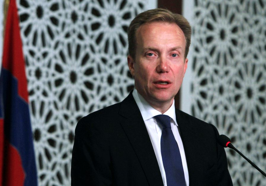 Norway's Foreign Minister Borge Brende attends a news conference in Islamabad, Pakistan, August 18,