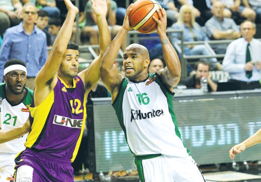 Maccabi Haifa forward Gregory Vargas (center) had 12 points and eight assists in last night's 101-70