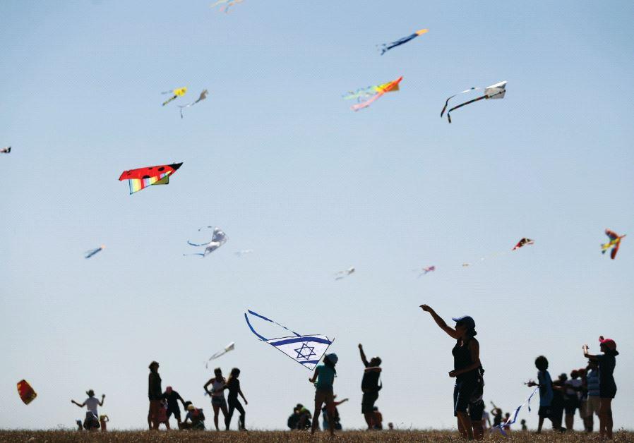 Flying kites in Israel
