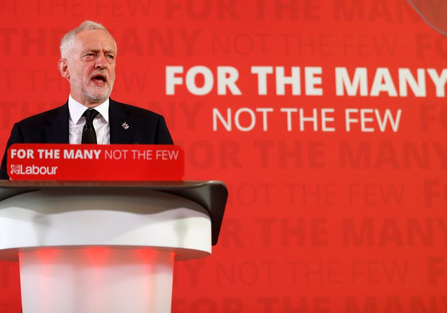 Jeremy Corbyn, the leader of Britain's opposition Labour party, makes a speech as his party restarts