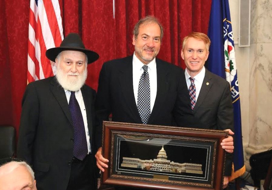 FROM LEFT: Rabbi Hillel Zaltzman, Rabbi Yechiel Eckstein and Sen. James Lankford.
