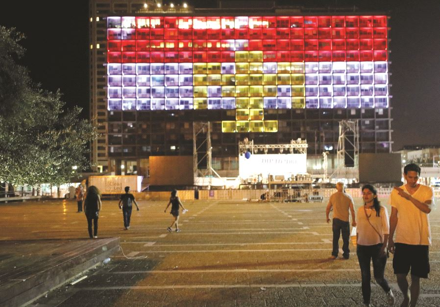 La mairie de Tel-Aviv aux couleurs de la Grande-Bretagne, après l'attentat de Manchester