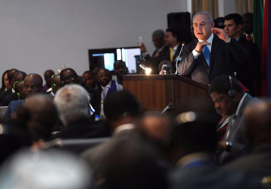 Prime Minister Benjamin Netanyahu speaking to African leaders in Liberia on June 4, 2017