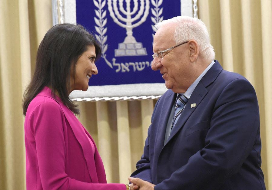 US Ambassador to the UN Nikki Haley meets with Israel's President Reuven Rivlin during her visit to