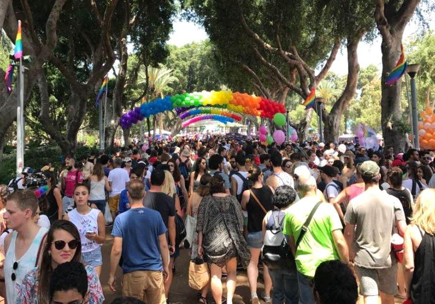 Tel Aviv Pride celebrations underway in Gan Meir park, June 9 2017