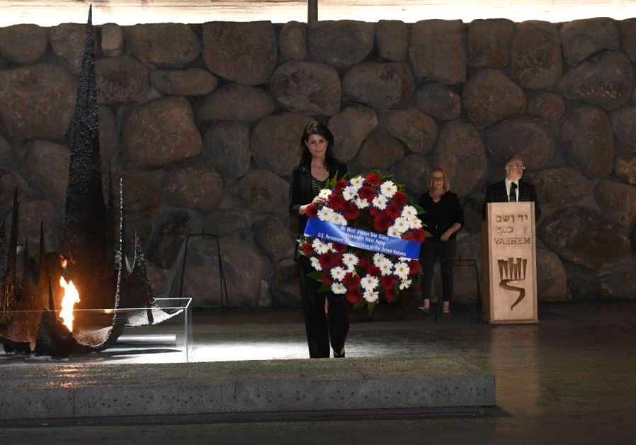 Nikki Haley lays a wreath at the Yad Vashem Hall of Remembrance, June 9 2017.