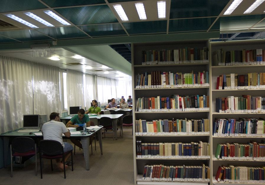 Students sit in a library at the Ariel University Centre in the West Bank settlement of Ariel