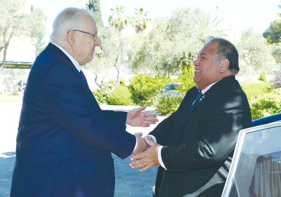 NAURU'S PRESIDENT Baron Waqa assures President Reuven Rivlin