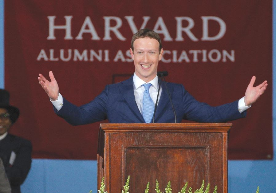 FACEBOOK FOUNDER Mark Zuckerberg speaks during the Alumni Exercises following the 366th Commencement