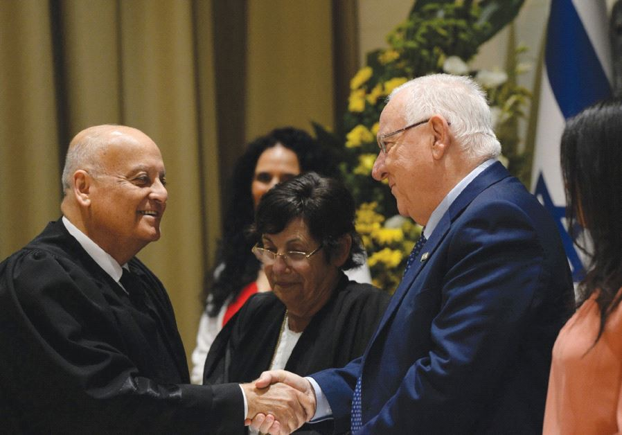 PRESIDENT REUVEN RIVLIN congratulates Supreme Court Deputy President Salim Joubran at his swearing-i