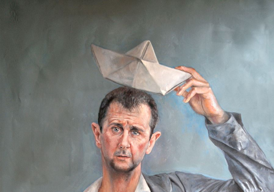 Syrian President Bashar Assad depicted as a refugee