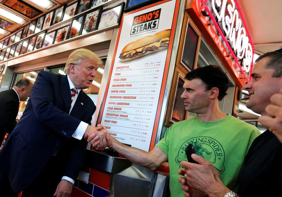 Donald Trump eating food steak