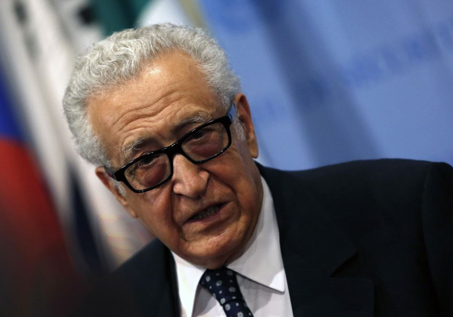 Former United Nations Special Envoy Lakhdar Brahimi talks to the media after briefing a United Nations Security Council meeting on Syria at U.N. headquarters in New York, March 13, 2014. (photo credit: REUTERS/MIKE SEGAR)