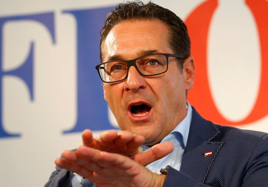 Head of Austrian Freedom Party (FPO) Heinz-Christian Strache addresses a news conference in Vienna.
