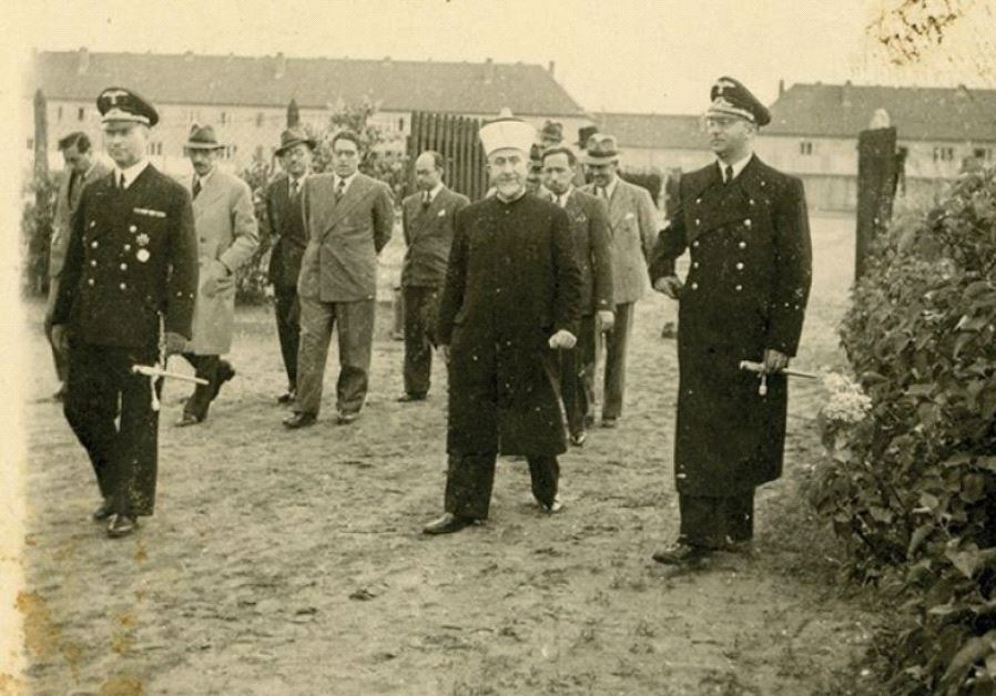 Haj Amin al-Husseini pictured visiting an unnamed German camp during World War II.