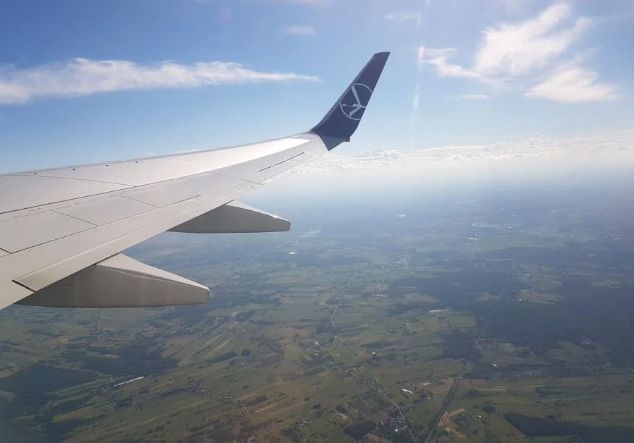 LOT Airlines flight over Poland. (photo credit: Becky Brothman)