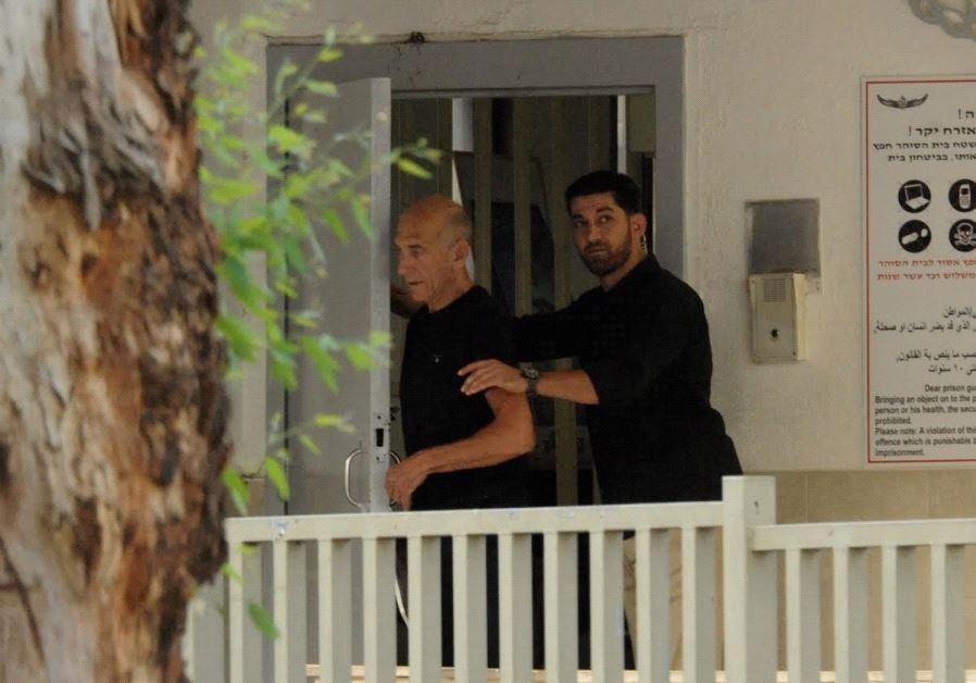 FORMER PRIME MINISTER Ehud Olmert being released from prison