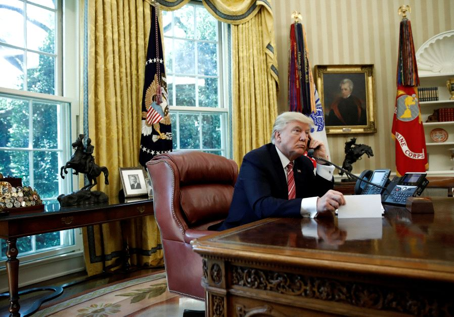 US President Donald Trump during a phone call at the Oval Office of the White House, June 27, 2017.