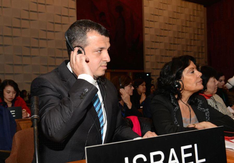 Israel's Ambassador to the UNESCO Carmel Shama HaCohen listens during a past heari ng at UNESCO