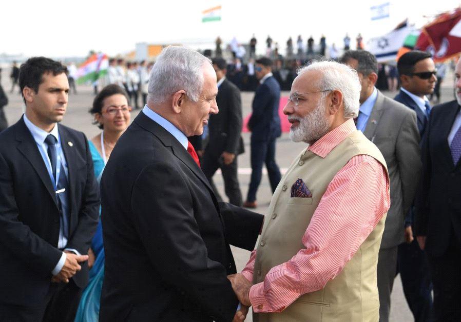 Visiting Indian Prime Minister Narendra Modi with Israeli Prime Minister Benjamin Netanyahu at Ben-G
