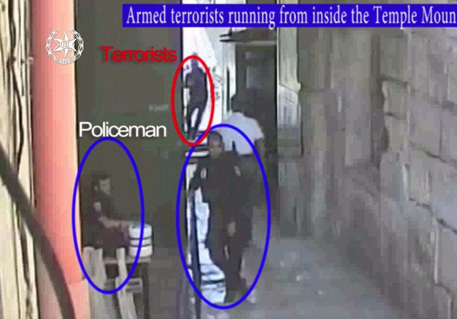 Screenshot of footage released by Israel Police of the terror attack on Temple Mount, July 14, 2017.