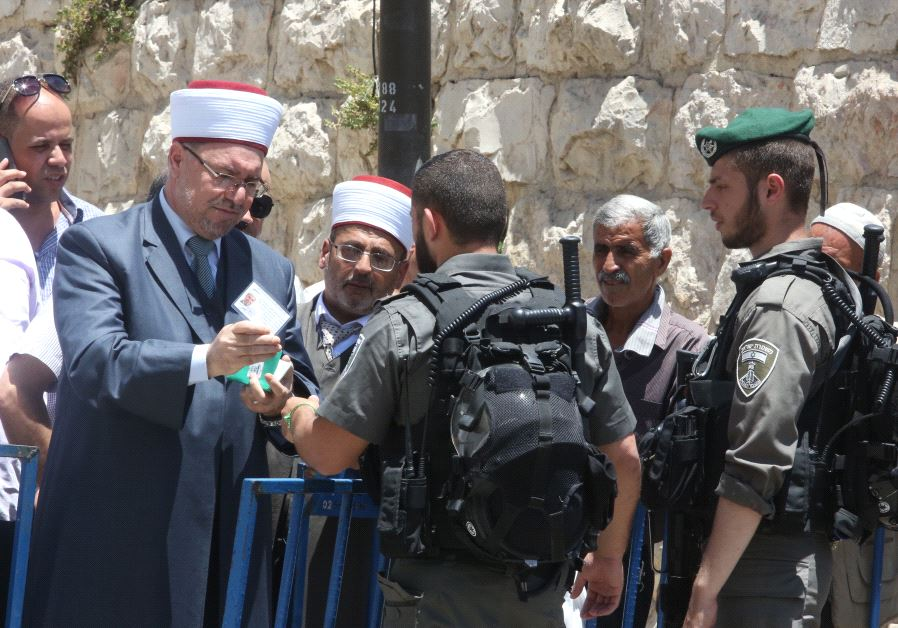 Security checkpoint at the Lions Gate entrance to the Temple Mount