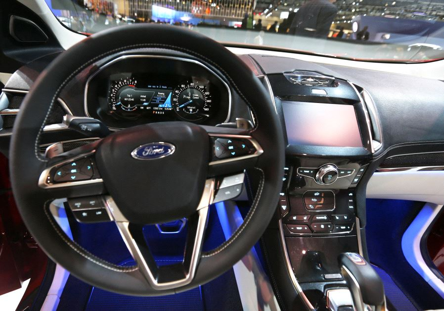 Interior of Ford Edge Concept vehicle is pictured at the 2013 Los Angeles Auto Show in Los Angeles.