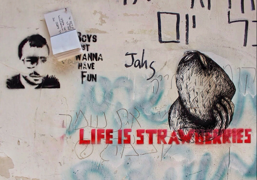Life is Strawberries Graffiti in Tel Aviv