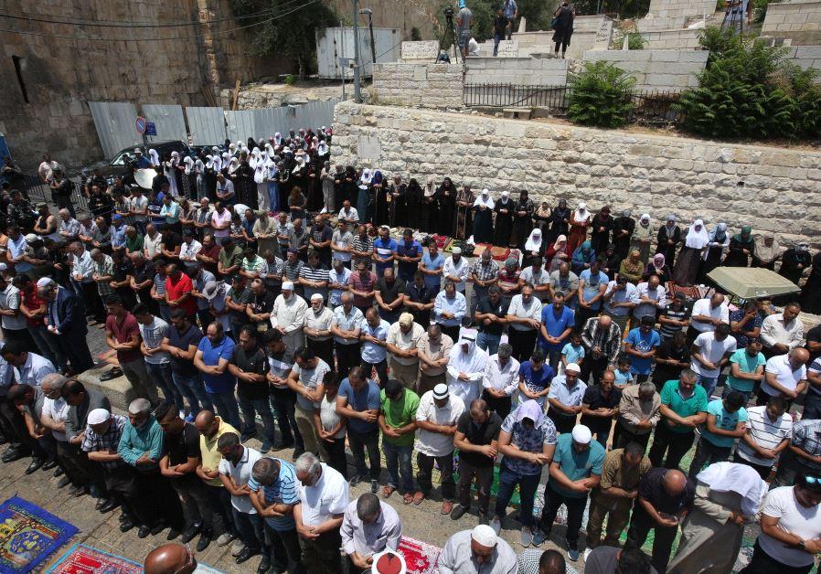 Prayer session outside Lions' Gate, Jerusalem, July 2017