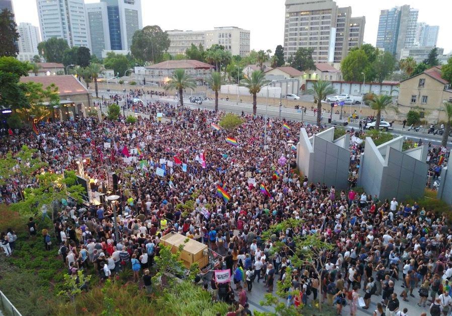 LGBT protesters in Tel Aviv