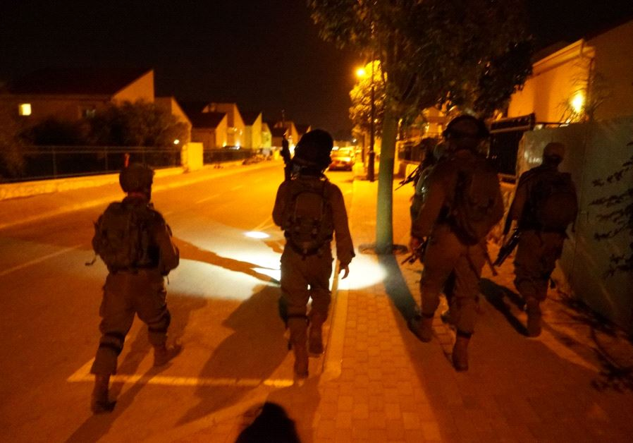 IDF forces in action following deadly attack in Halamish, July 22, 2017.