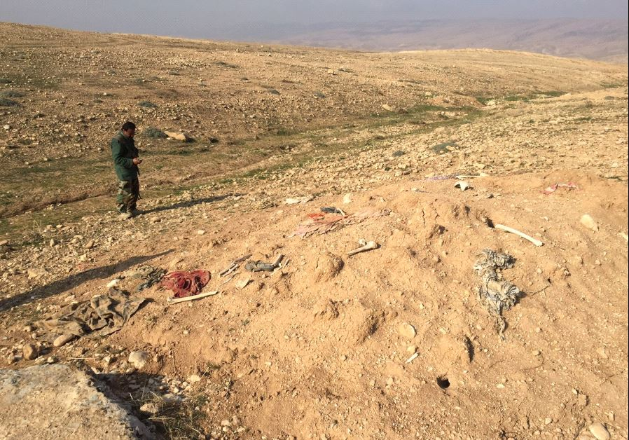 Two photos of mass grave sites near Sinjar in 2015 of Yazidis who were mass murdered by ISIS.