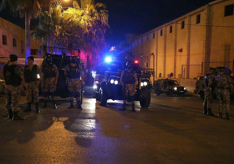 Jordanian police outside Israeli embassy in Amman . (photo credit:SOCIAL MEDIA)
