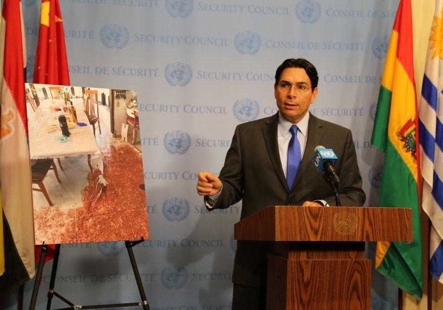 Israeli Ambassador to the United Nations Danny Danon addresses the press outside the UN Security Cou
