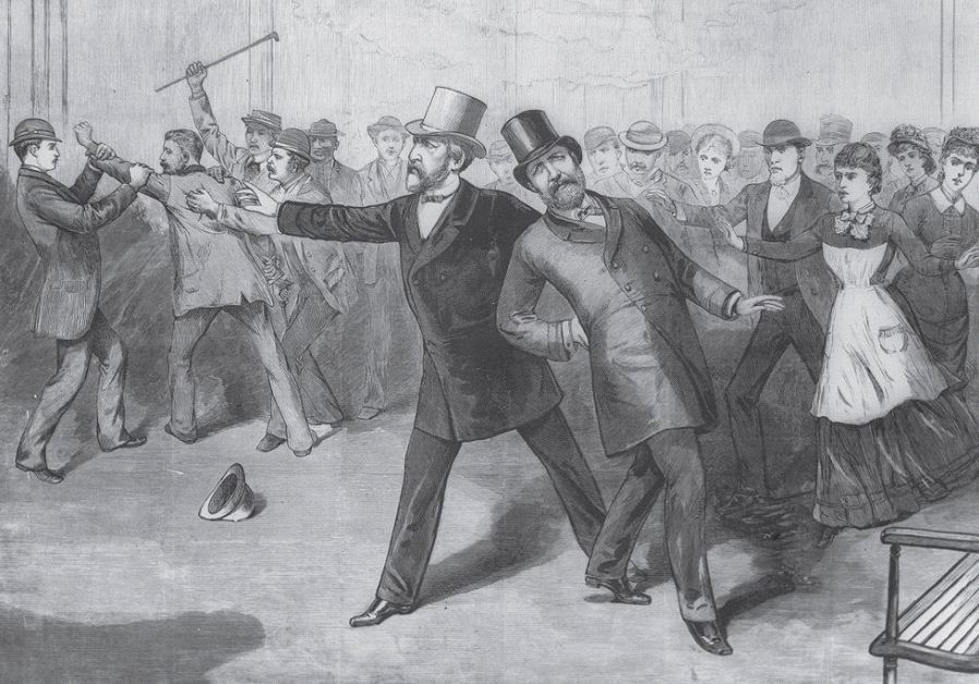 AN ENGRAVING of James A. Garfield's assassination, published in 1881 in Frank Leslie's Illustrated N