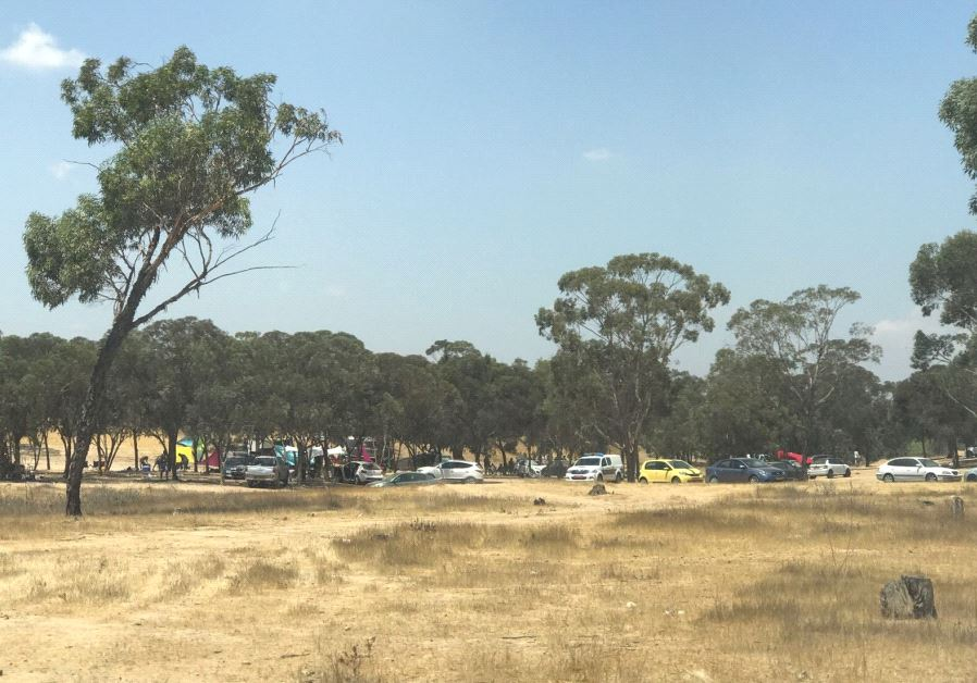 Police cars at the site of the nature party in Beersheba, August 2-17
