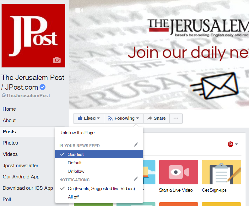 See the latest from The Jerusalem Post in your News Feed.
