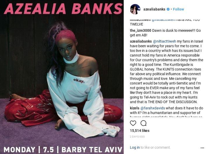 Screenshot from Azealia Banks's Twitter, captured February 20, 2018.