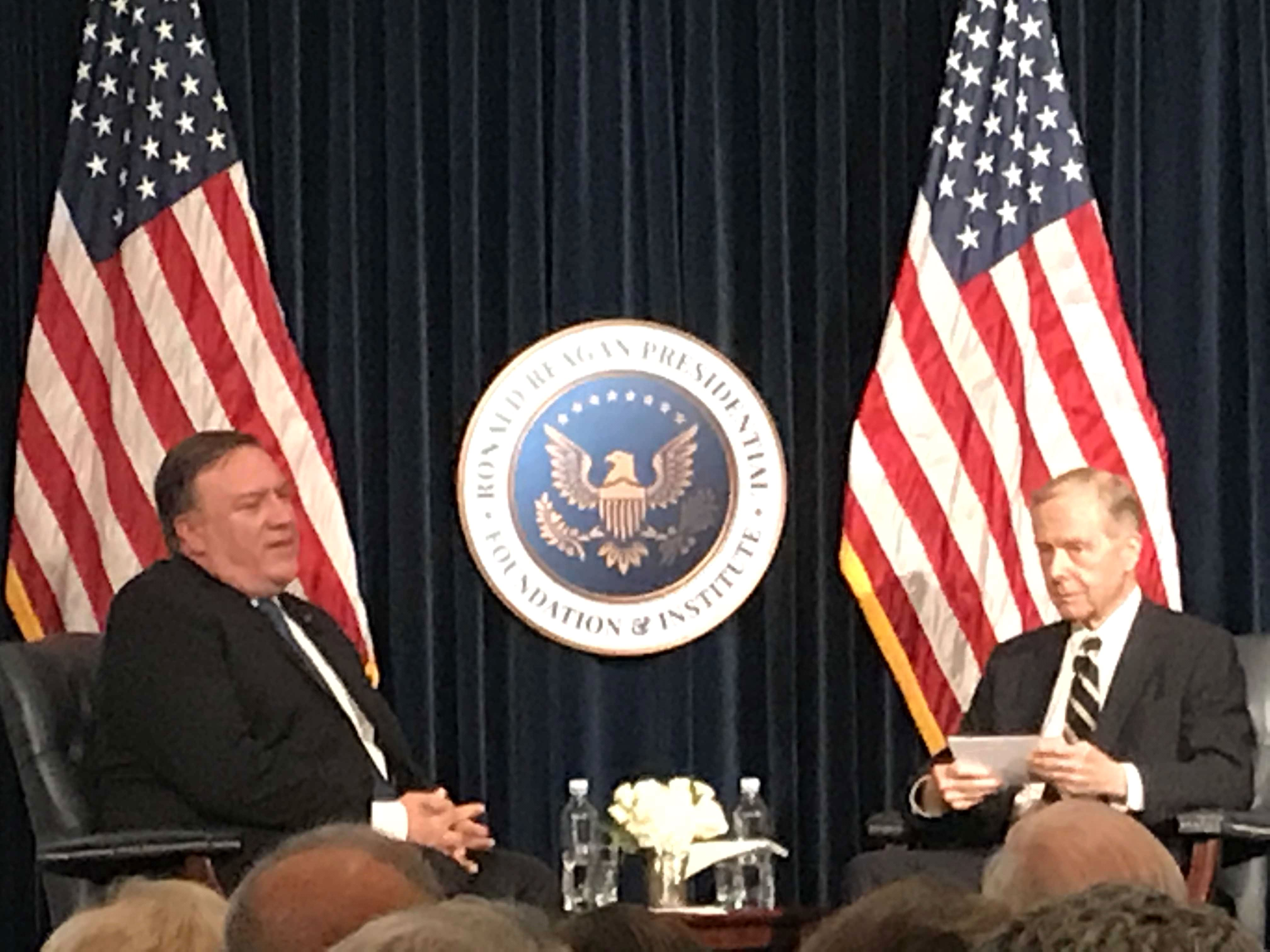On Stage Q&A Secretary Mike Pompeo with former California Governor Pete Wilson (Photo credit: Nurit Geenger)