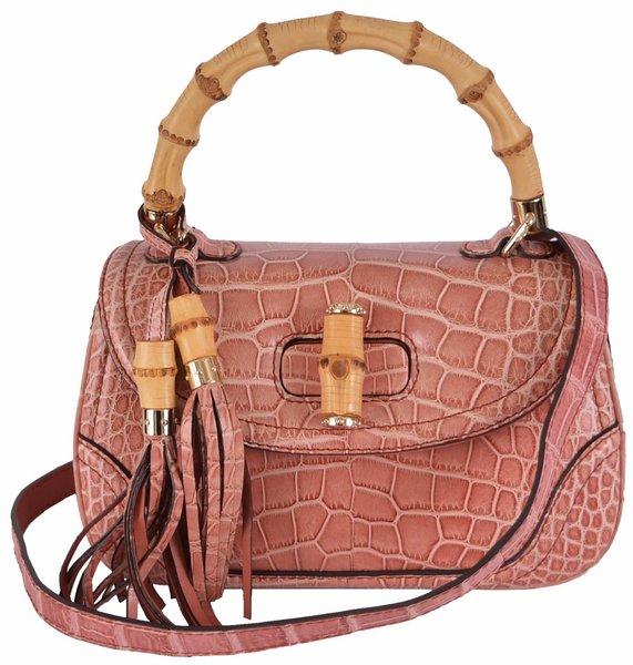 77f08ad3dd70 Gucci Women's Light Pink Crocodile Bamboo Convertible Handbag, $6,900,  Amazon