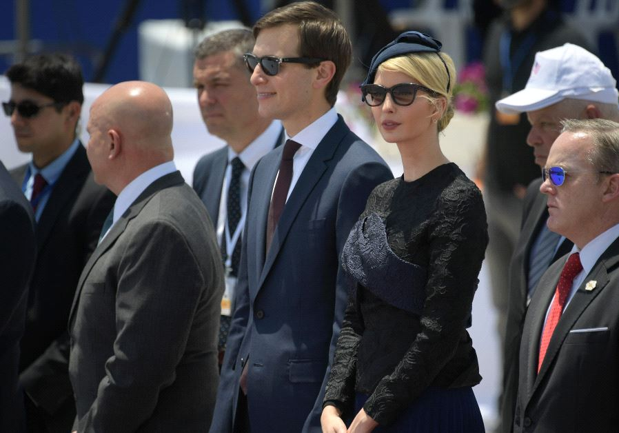 White House senior advisor Jared Kushner (C) and Ivanka Trump (2R), the daughter of US President take part in a welcome ceremony upon the US Presidents arrival in Israel on May 22, 2017, as part of his first trip overseas (MANDEL NGAN / AFP)