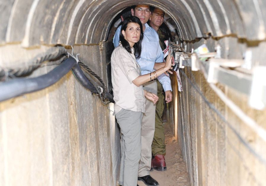 AMBASSADOR NIKKI HALEY inspects a Hamas attack tunnel into Israel that was uncovered by the IDF. (Matty Stern/US Embassy in Tel Aviv)